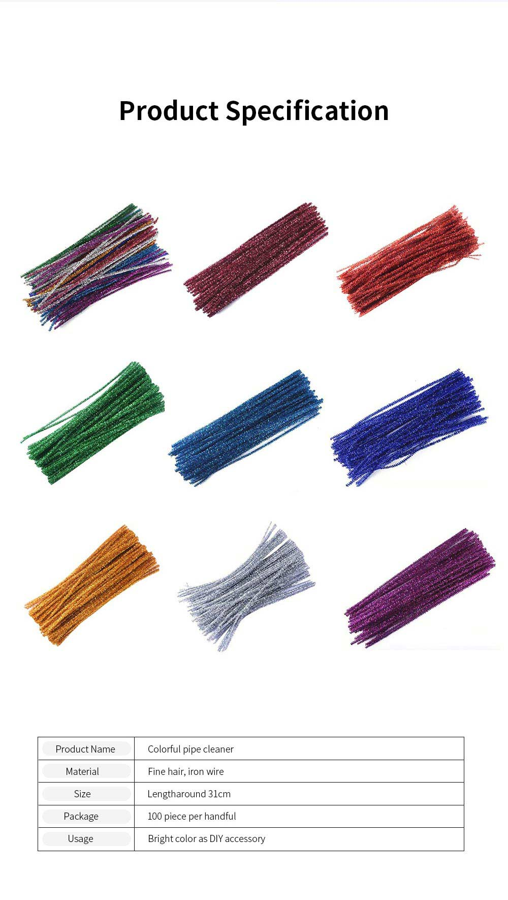 100PCS Colorful Pipe Stick for Kindergarten Handmade Material Mixed Colorful Pipe Twist DIY Cyclic Wave Crooked Stick 6