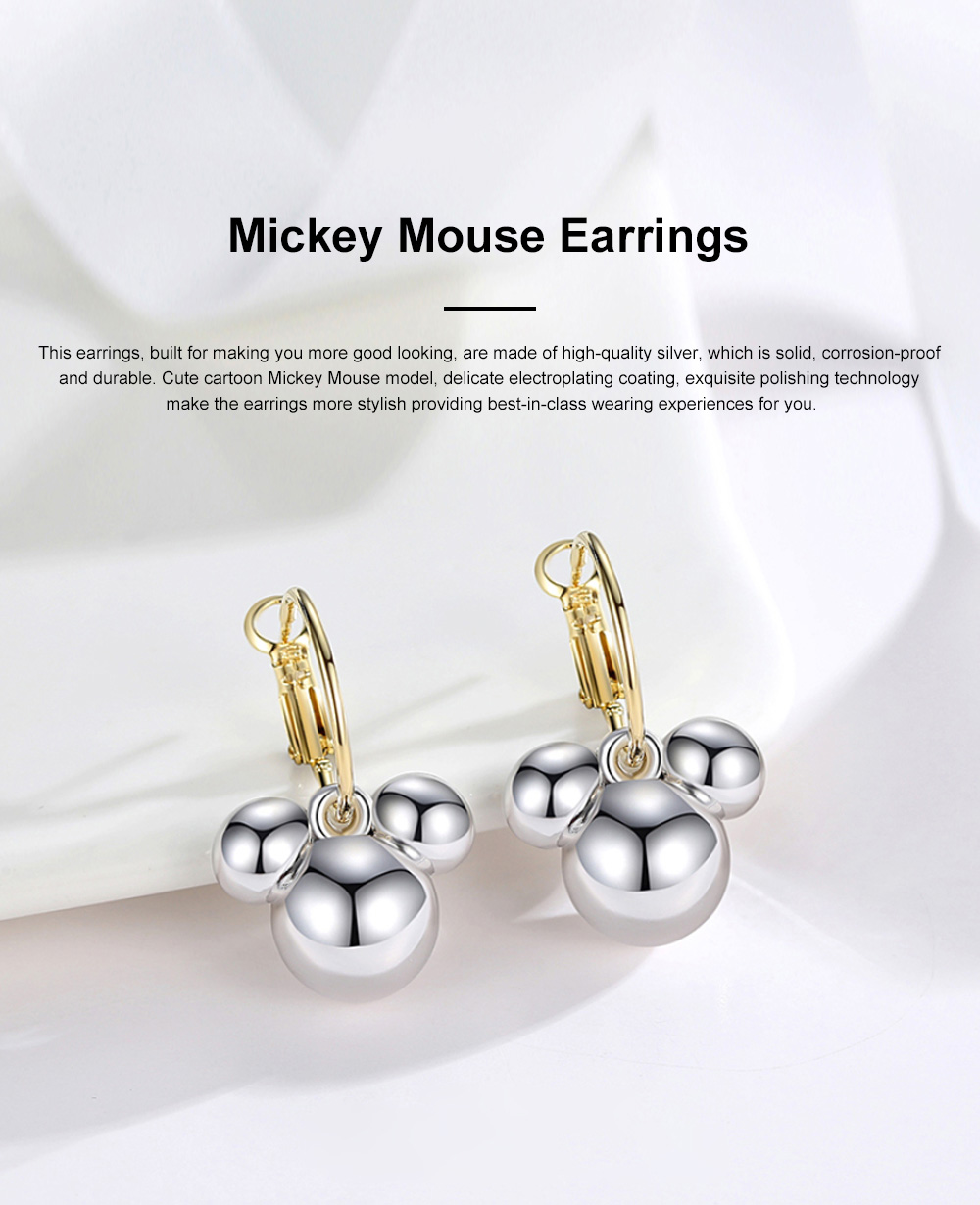 CAROMAY Minimalist Stylish Fashionable Cartoon Cute Mouse Model Silver Earrings Eardrops with Electroplating Coating 0