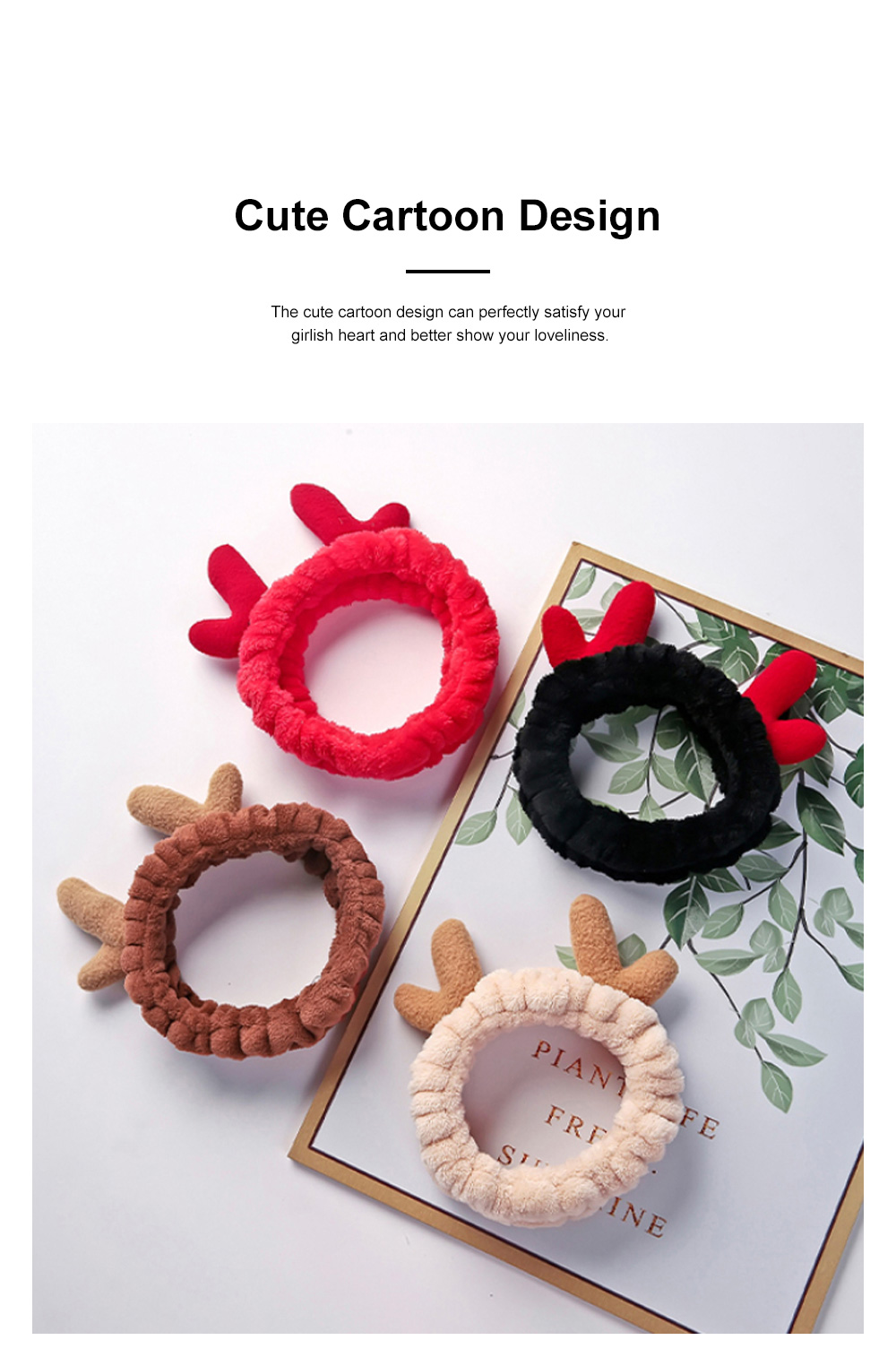 Girls Washing Hair Band Cute Flannel Deer Horn Hair Band Hair Accessories for Working Washing Makeup Mask 1