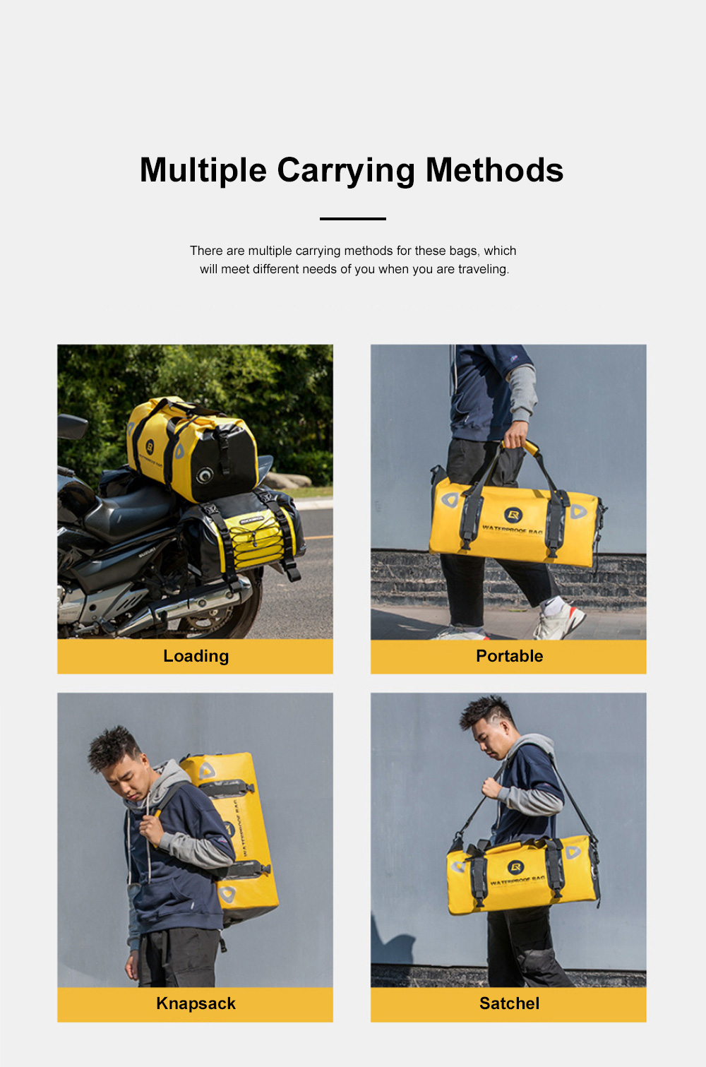 ROCKBROS Motorcycle Backseat Bag Portable Waterproof Large Capacity Functional Motorcycle Traveling Baggage Luggage Bag Pack Riding Accessories 4