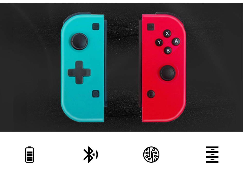 POWKIDDY Bluetooth Wireless Gaming Stick NSJoy-Con for Motion Sensing Game on Switch Left & Right Set Two Controllers Blue Red 3