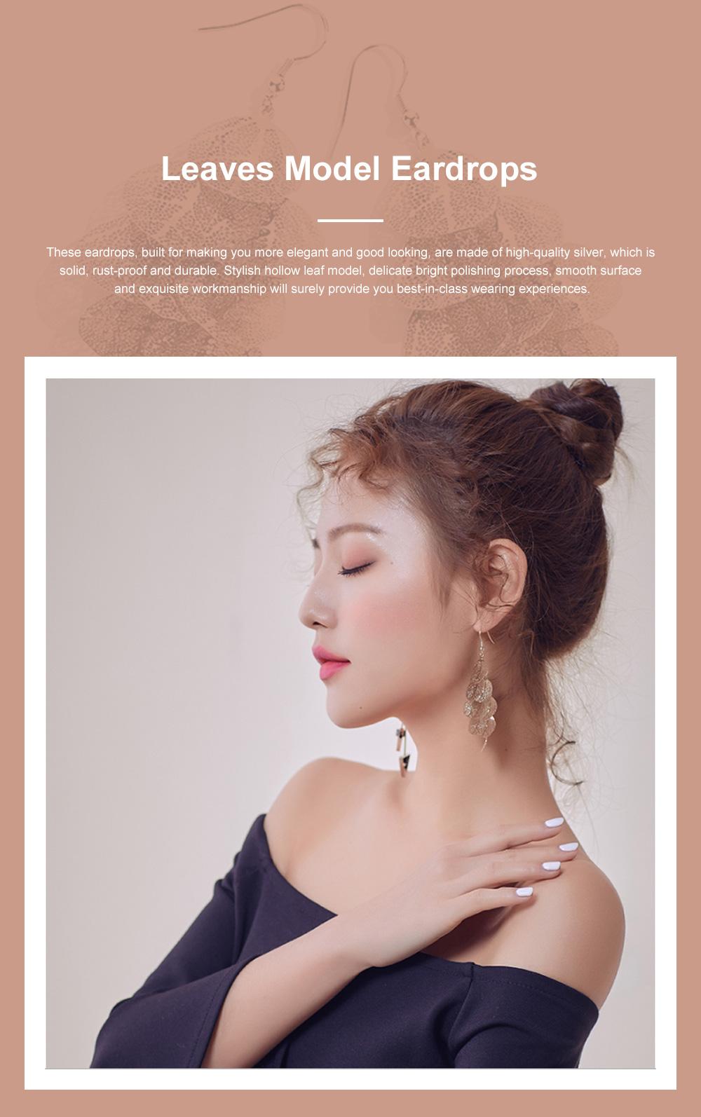 CAROMAY Stylish Elegant Vintage Delicate Hollow Leaf Model Tassels Silver Eardrops Earrings with Mirror Polishing Electroplating 0