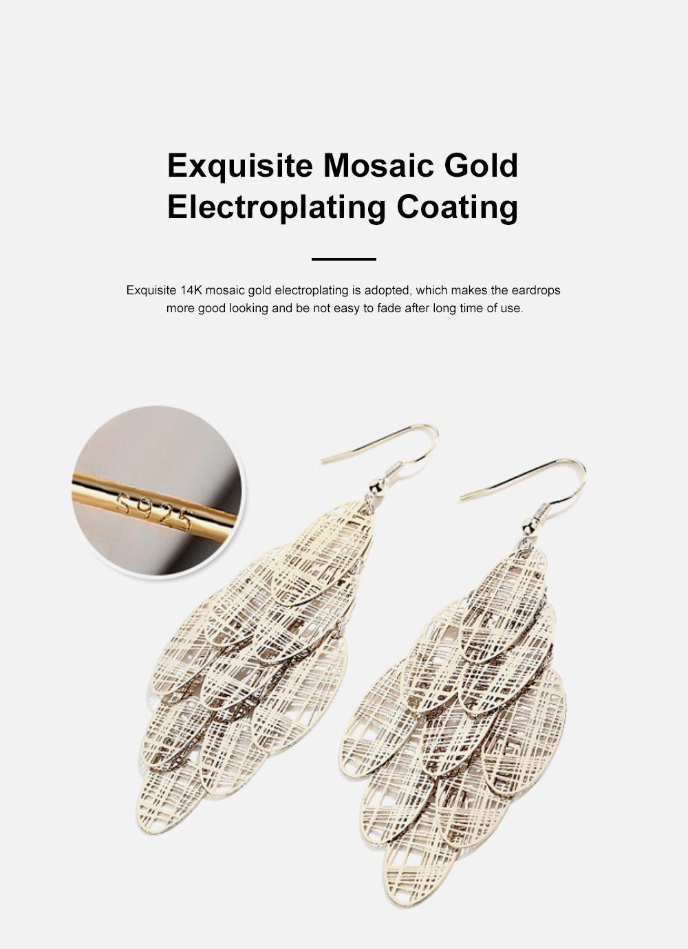 CAROMAY Stylish Elegant Vintage Delicate Hollow Leaf Model Tassels Silver Eardrops Earrings with Mirror Polishing Electroplating 5