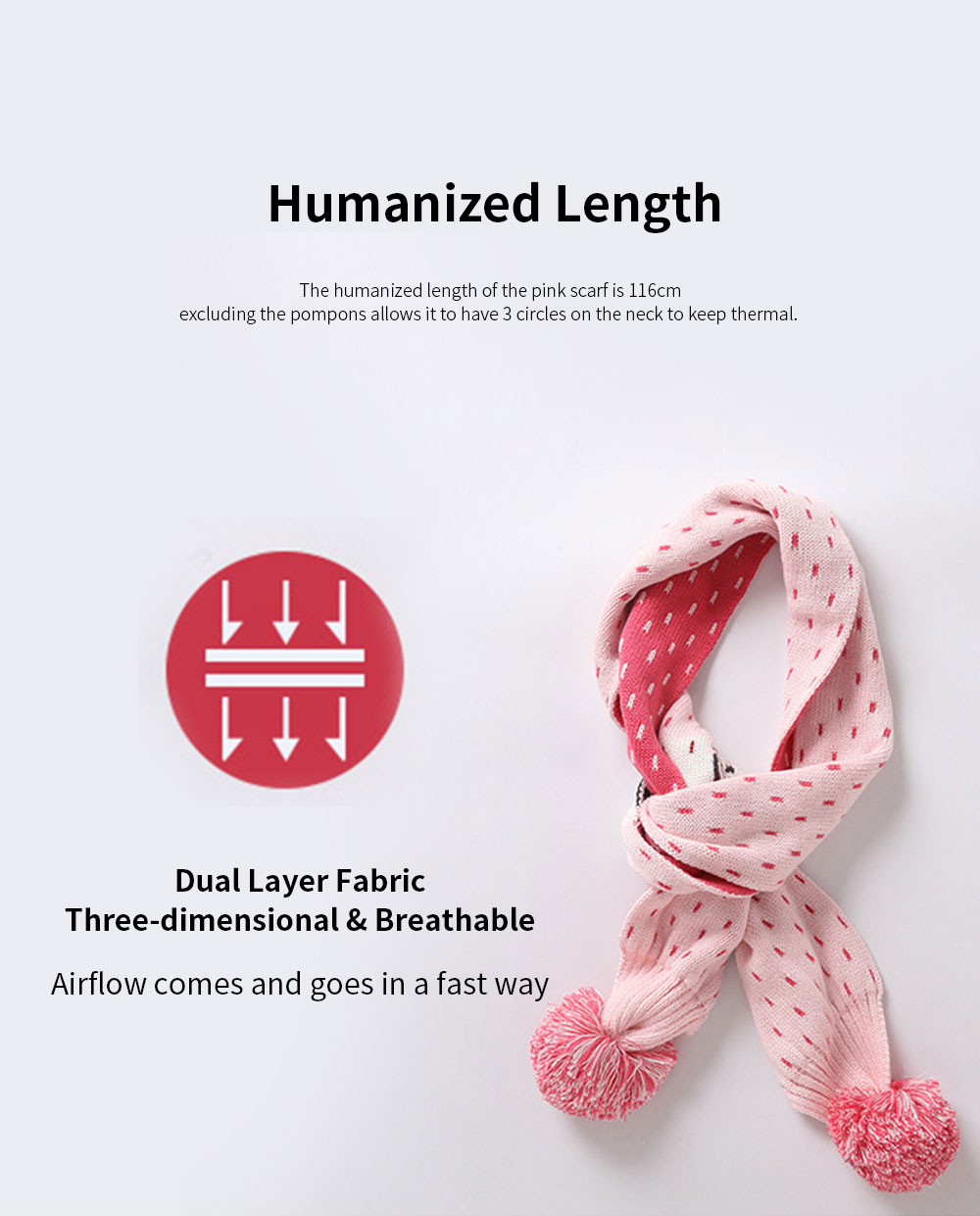 Ruhi New Style Long Scarf for Kids' Wear 100% Cotton Knitted Thermal Kid's Scarf Pink Cartoon Deer Pattern Scarf Winter Autumn 4