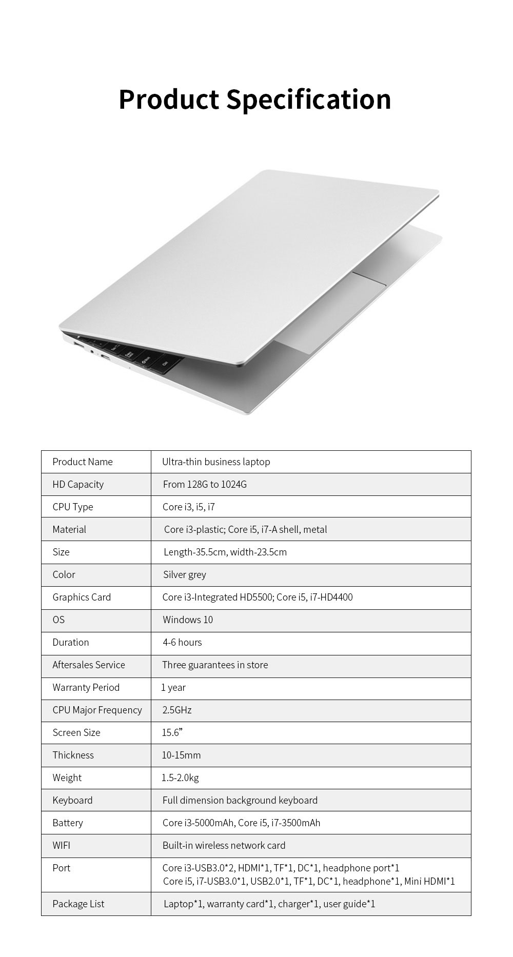 Ultrathin Portable 15.6 Inch I3 I5 I7 Laptop for Business Entertainment Brand New Core Processer Notebook Computer High-performed Laptop 11