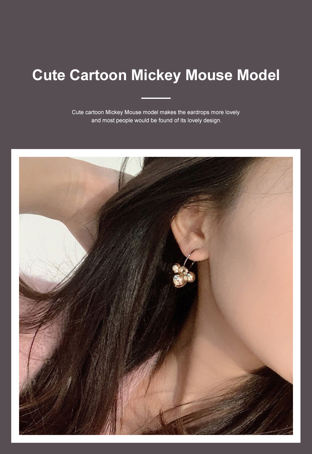 CAROMAY Minimalist Stylish Fashionable Cartoon Cute Mouse Model Silver Earrings Eardrops with Electroplating Coating 2