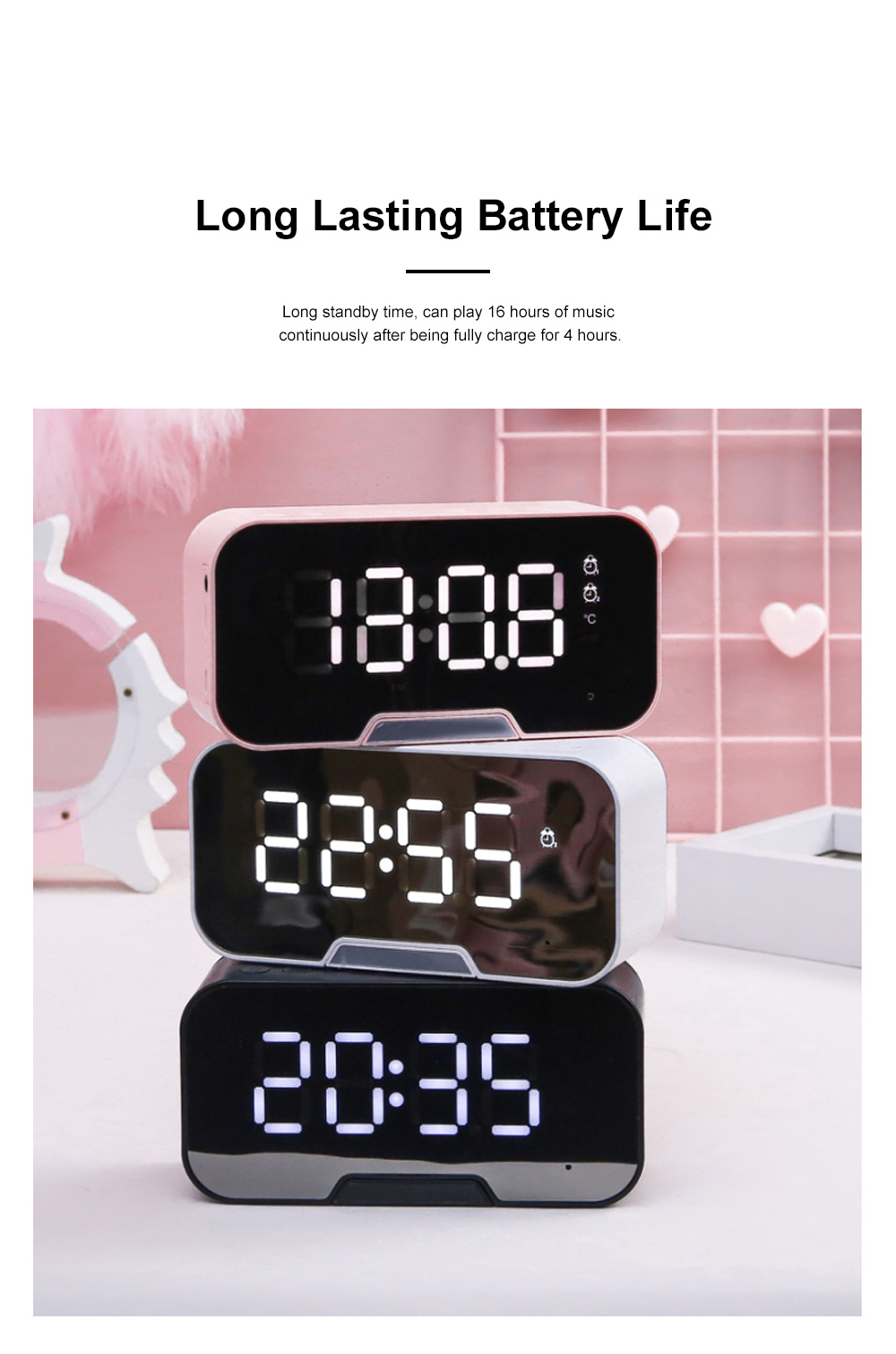 Bluetooth Speakers Alarm Clock Radio with Dual Alarms and 3 Level Brightness Adjustment and Stereo Sound 3