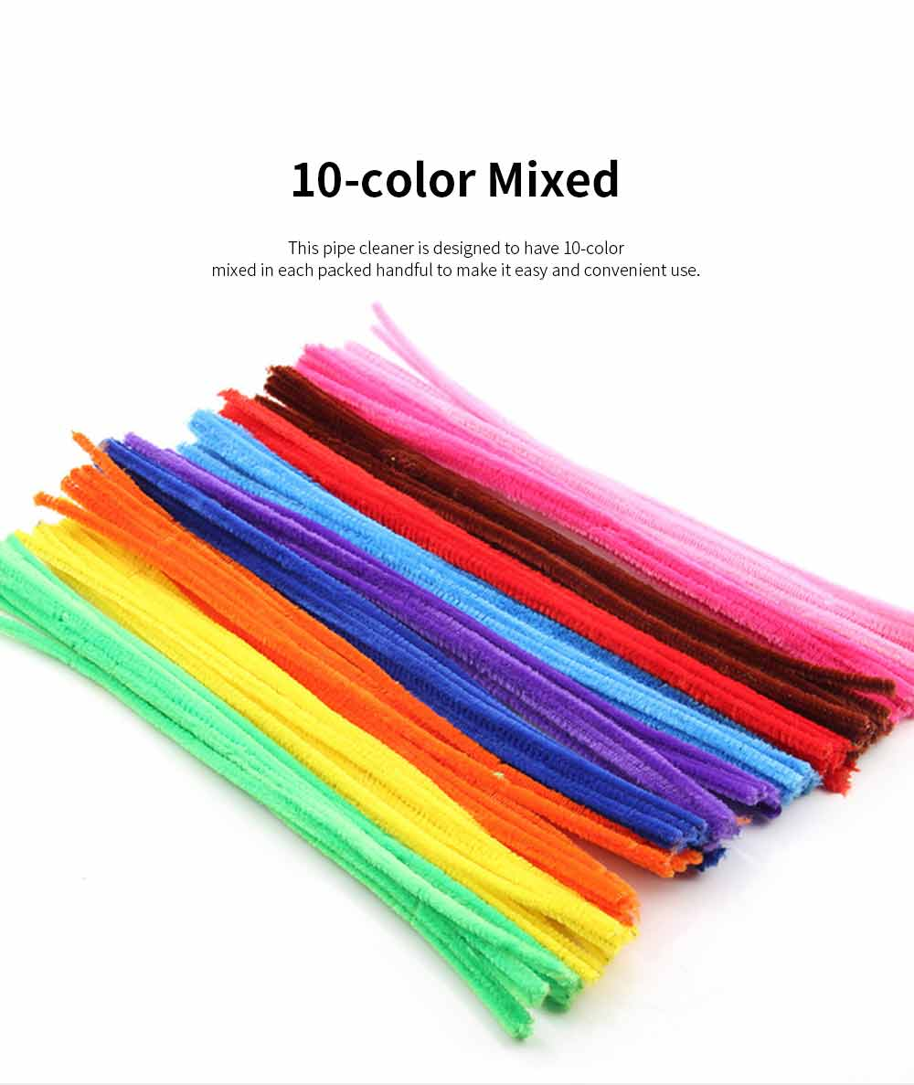 100pcs Per Set Twist Stick Velvet Pipe for Hand-made Use Ten-color Mixed Twisting Stick Light Color Series DIY Tool Mixed 10 Color 1
