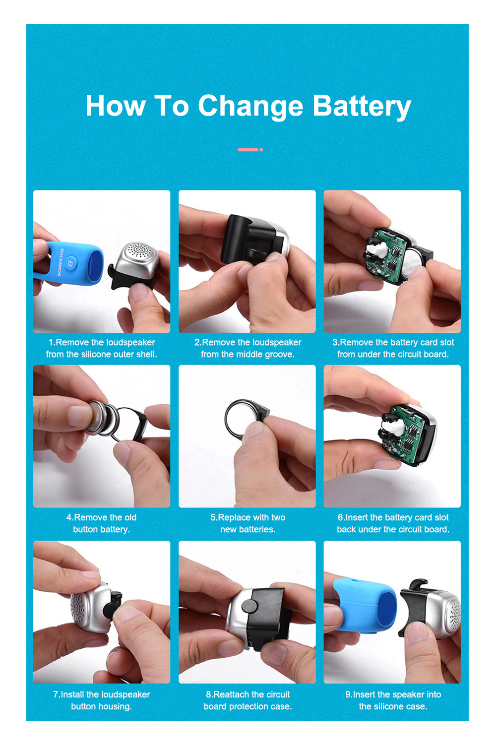ROCKBROS Small Portable Waterproof Easy Installation Elastic Rubber Bicycle Bike Electronic Ring Bell Cycling Accessories 7