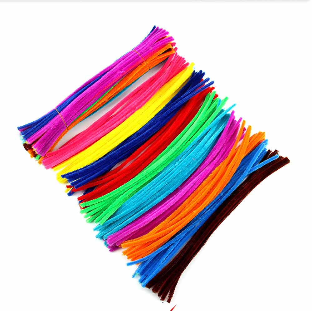 100pcs Per Set Twist Stick Velvet Pipe for Hand-made Use Ten-color Mixed Twisting Stick Light Color Series DIY Tool Mixed 10 Color 6