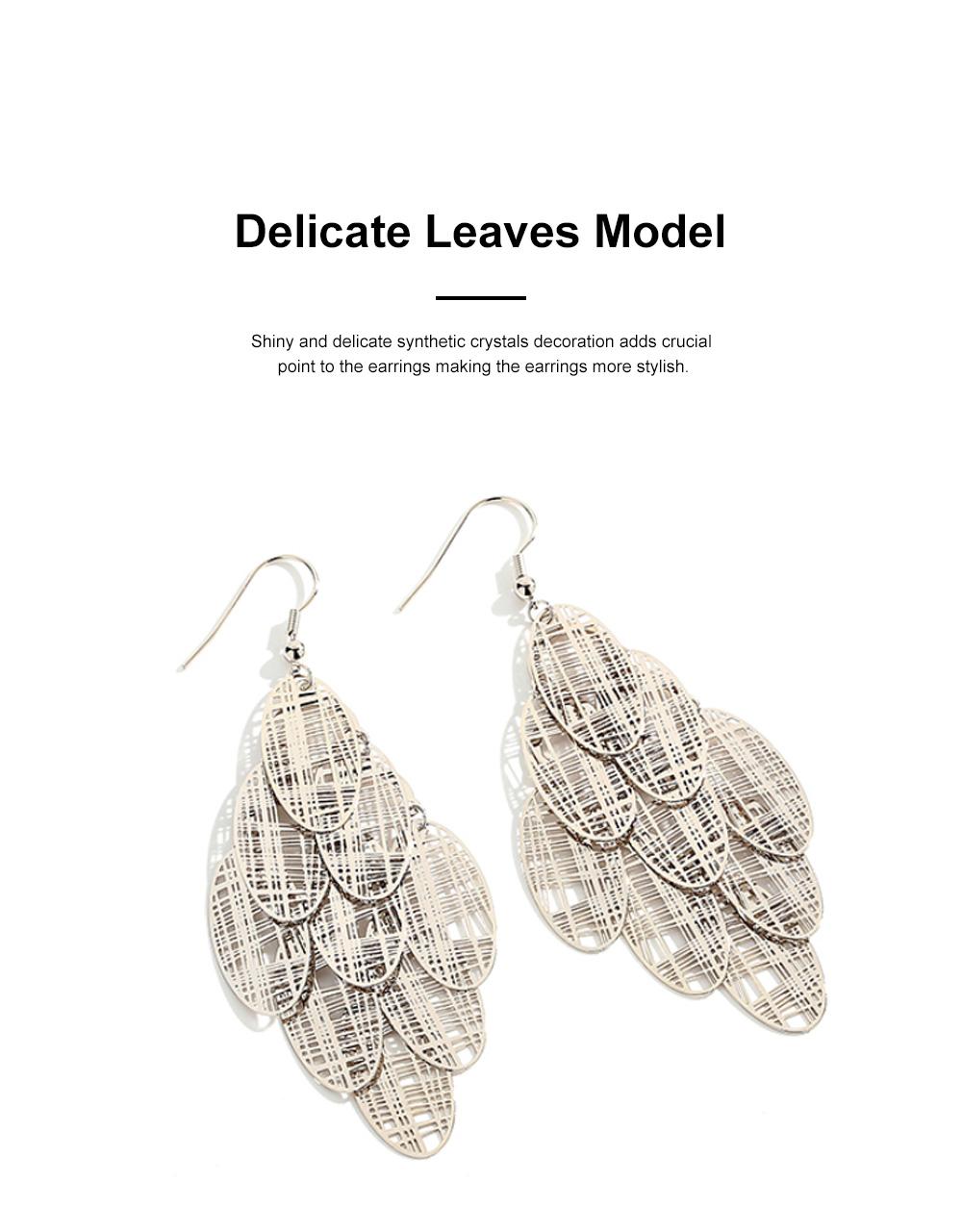 CAROMAY Stylish Elegant Vintage Delicate Hollow Leaf Model Tassels Silver Eardrops Earrings with Mirror Polishing Electroplating 3
