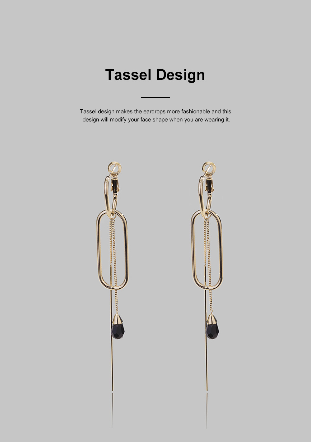 CAROMAY Minimalist Vintage Elegant Tassel Hollow Model Earrings Eardrops with Synthetic Crystal Decoration Delicate Electroplating Coating 2
