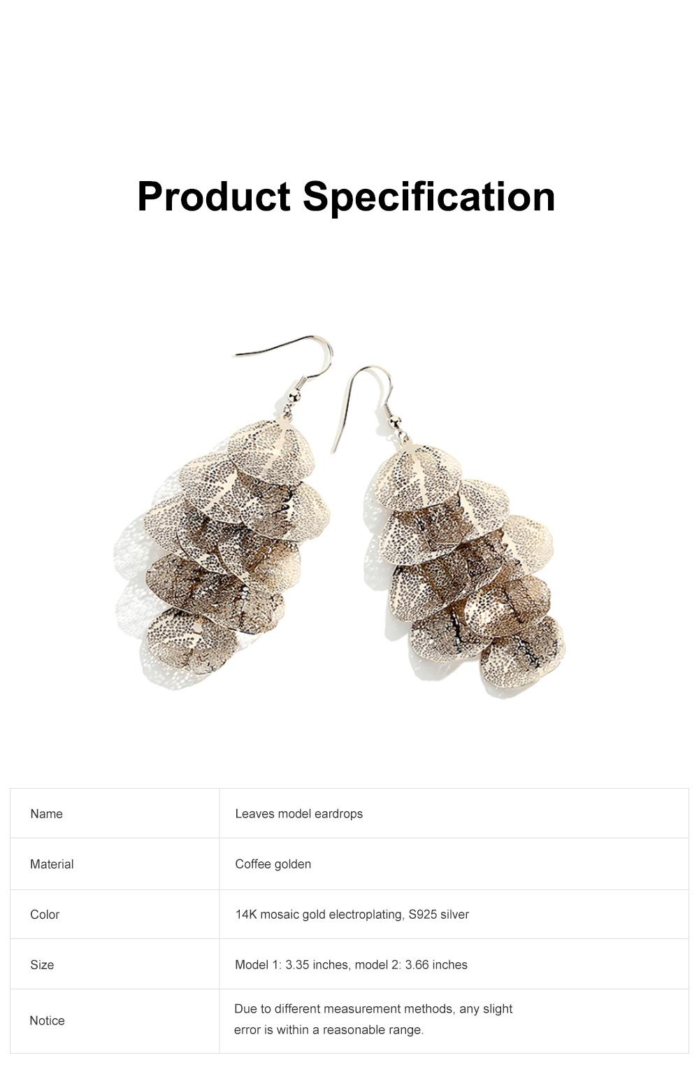 CAROMAY Stylish Elegant Vintage Delicate Hollow Leaf Model Tassels Silver Eardrops Earrings with Mirror Polishing Electroplating 6