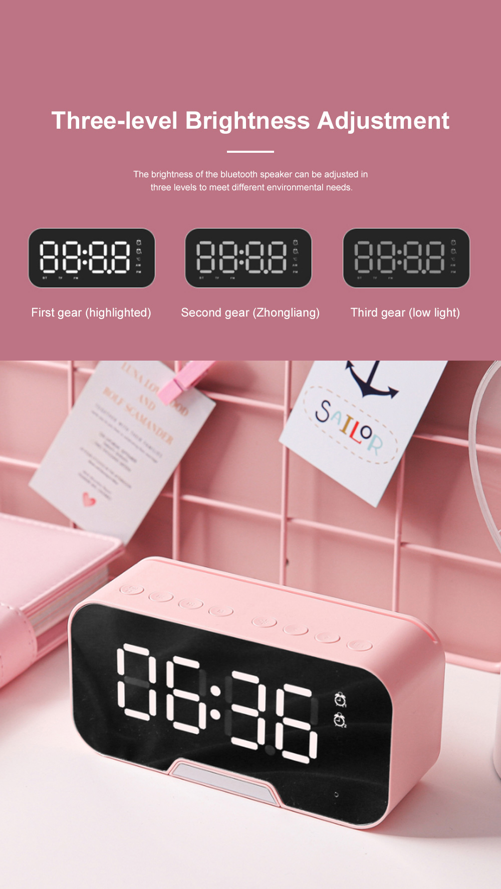 Bluetooth Speakers Alarm Clock Radio with Dual Alarms and 3 Level Brightness Adjustment and Stereo Sound 2
