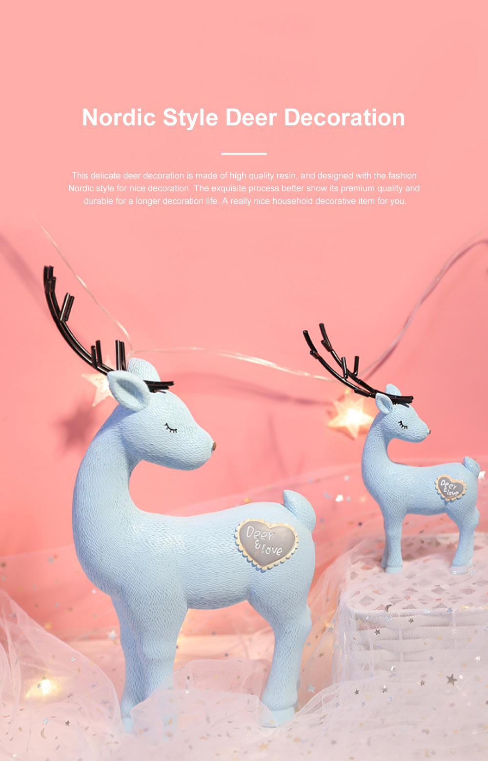 Crafts Decorative Deer Nordic Style Resin Deer Household Decoration for Living Room Bedroom and Office Decoration 0