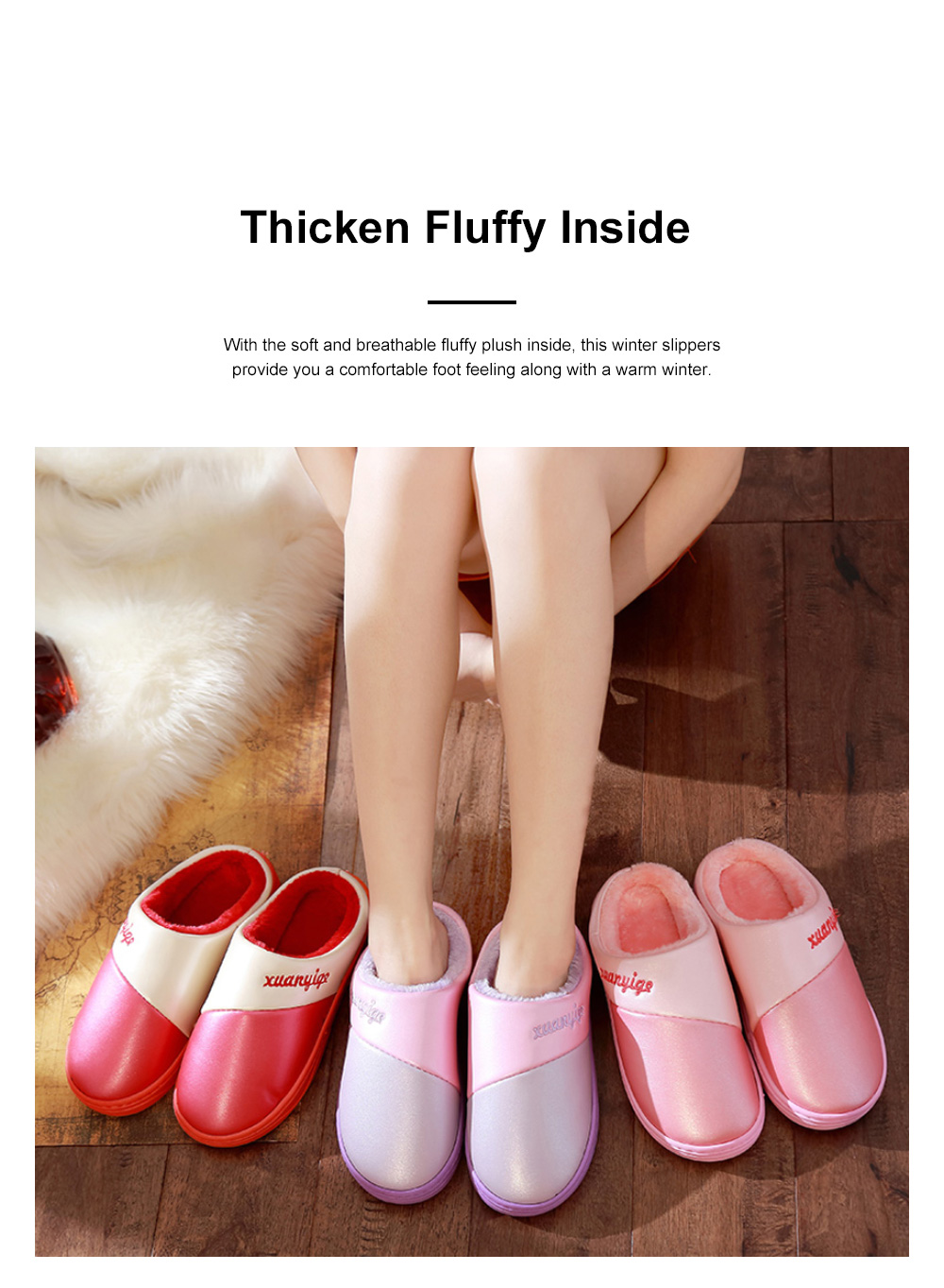 New Style Indoor PU Material Winter Slippers For Couples Home-used Warm Household Cute Water-proof & Skid-proof Slippers 1