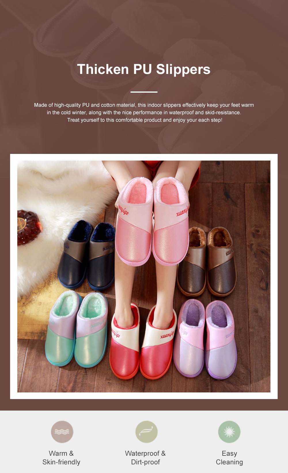 New Style Indoor PU Material Winter Slippers For Couples Home-used Warm Household Cute Water-proof & Skid-proof Slippers 0