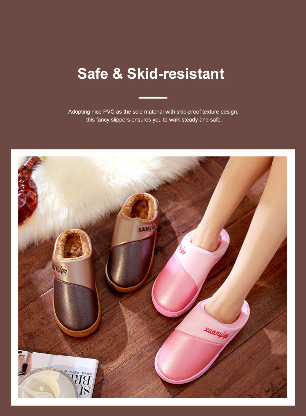 New Style Indoor PU Material Winter Slippers For Couples Home-used Warm Household Cute Water-proof & Skid-proof Slippers 2