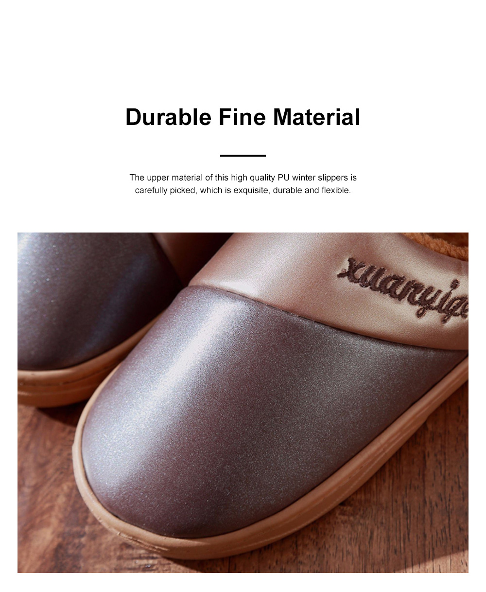 New Style Indoor PU Material Winter Slippers For Couples Home-used Warm Household Cute Water-proof & Skid-proof Slippers 3