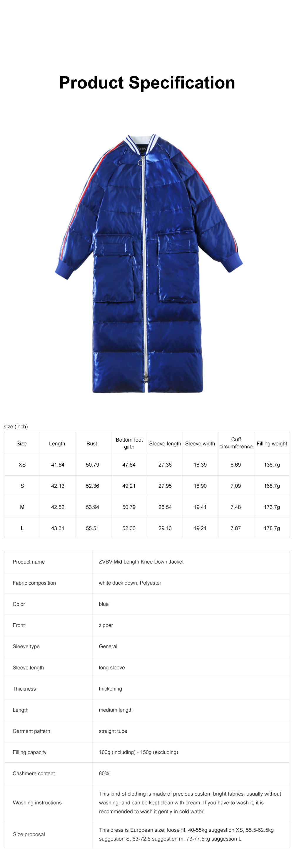ZVBV Mid Length Knee Down Jacket 2020 New Style Fashion Brand Blue Women's Wear 6