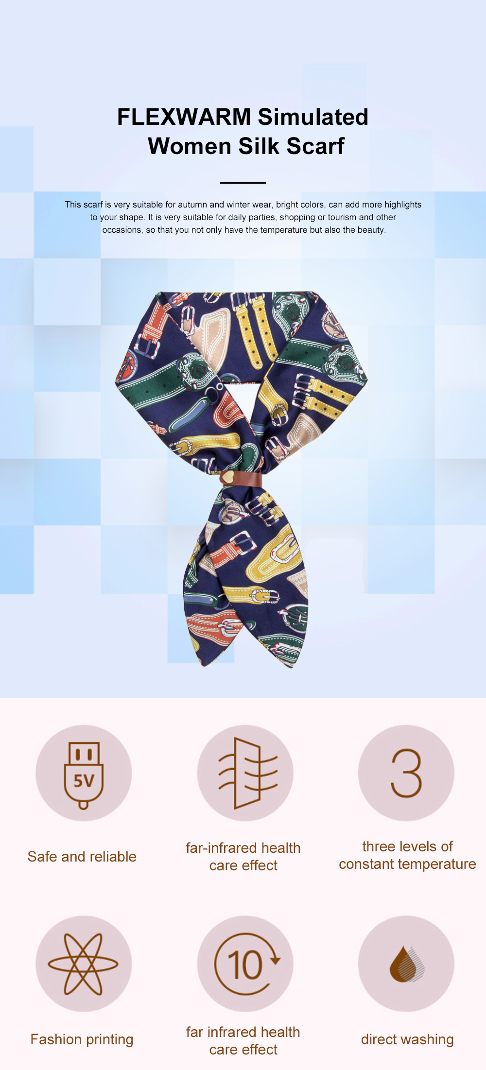 FLEXWARM Simulated Silk Intelligent Neck Protection Women's Silk Scarf Hot Short Style Versatile Scarf in Autumn and Winter 0