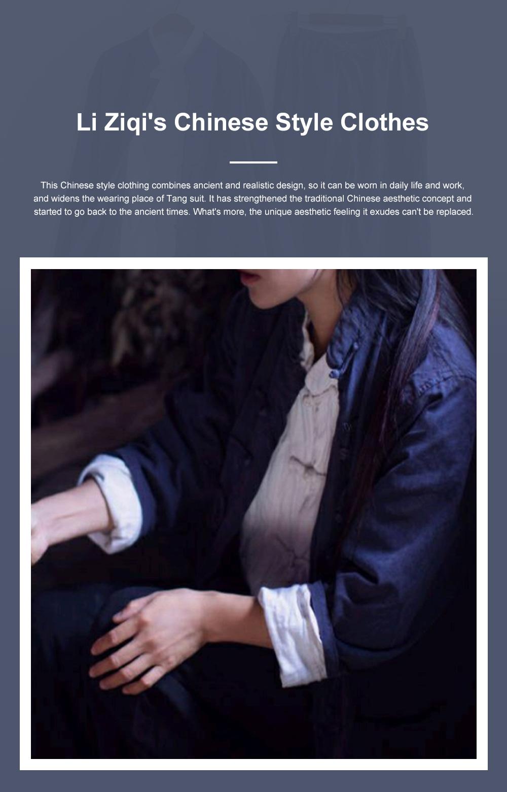 Li Ziqi's Chinese Style Clothes Retro Han Suit Chinese Ancient Style Cotton Hemp Three Piece Suit Reclusive Clothes Meditation Clothes 0