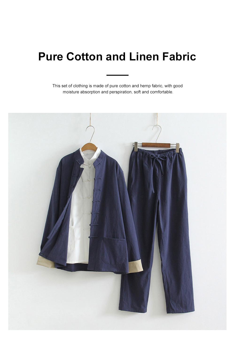 Li Ziqi's Chinese Style Clothes Retro Han Suit Chinese Ancient Style Cotton Hemp Three Piece Suit Reclusive Clothes Meditation Clothes 1