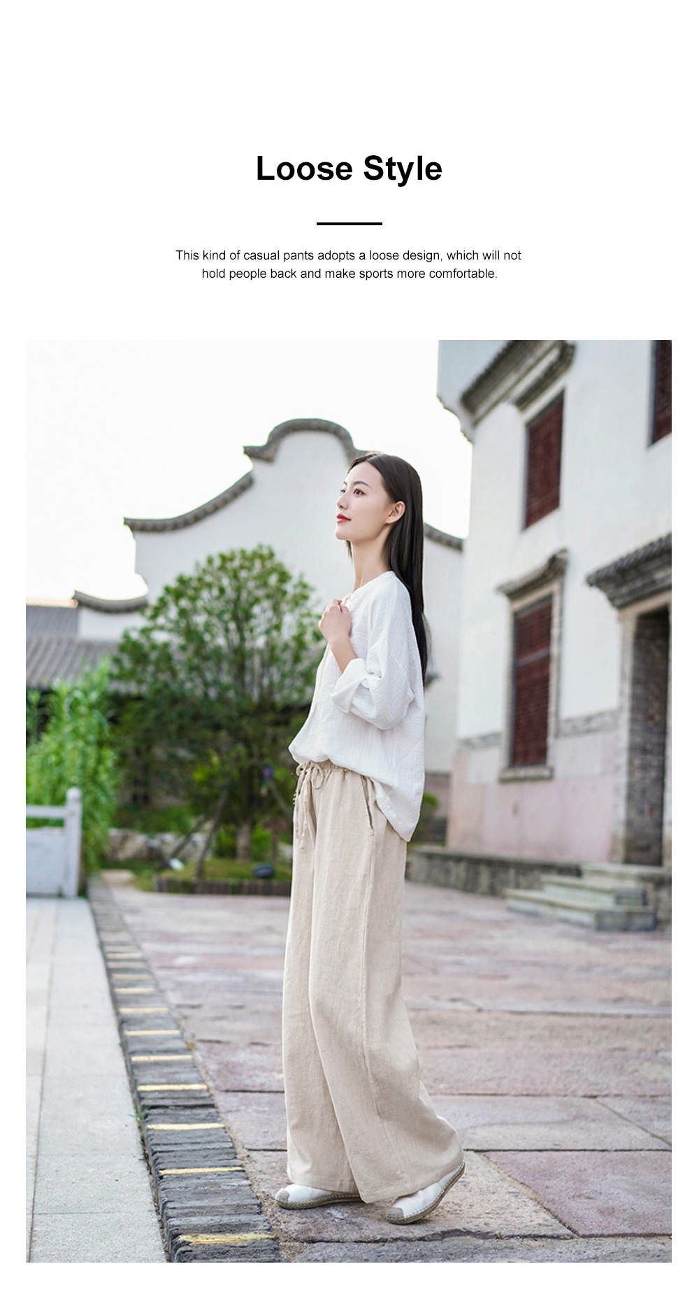 Literature Art Retro Chinese Style Cotton Hemp Leisure Pants Meditation Practice Pant Taiji Pants Linen Pants Women's Wide Leg Pants 1