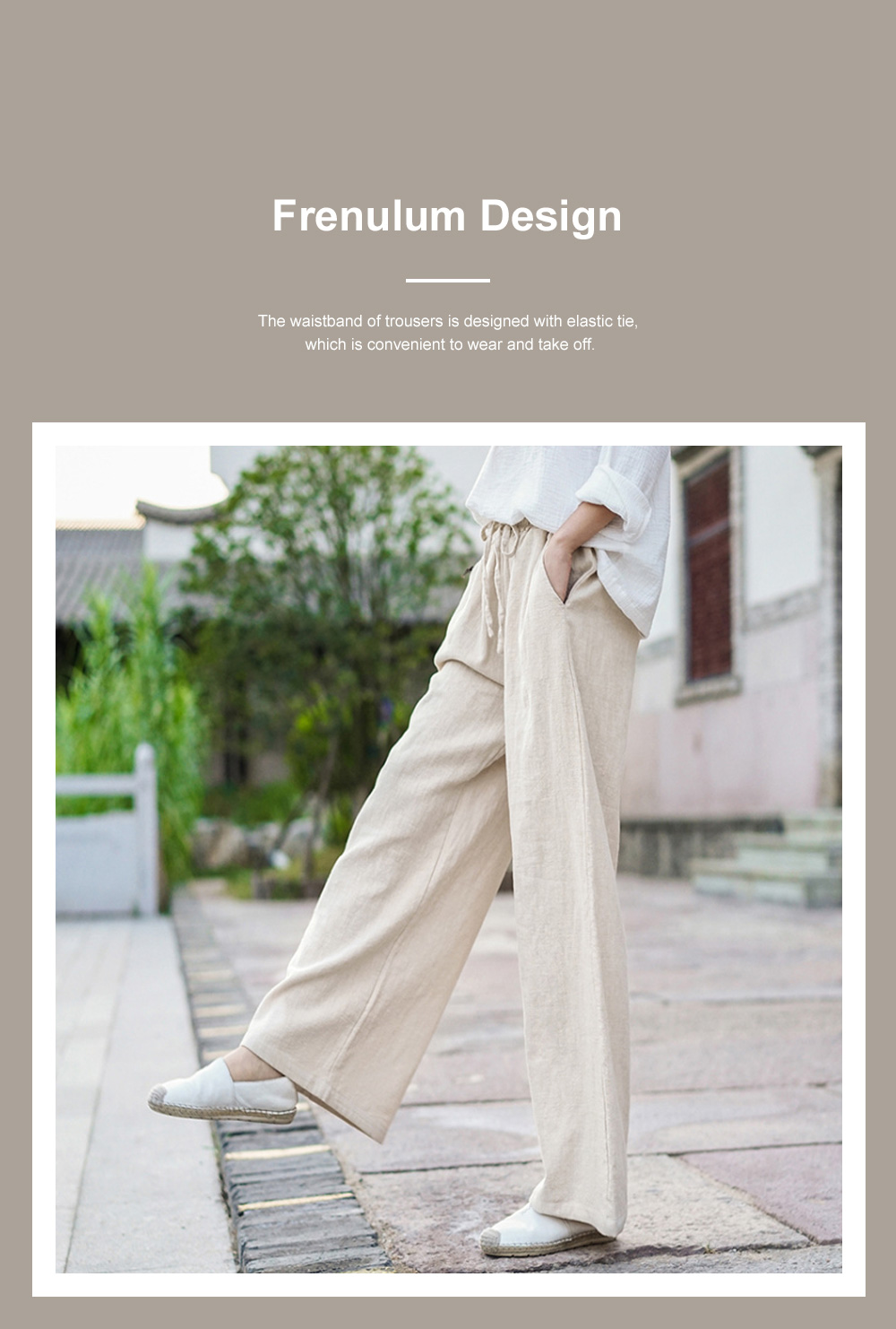Literature Art Retro Chinese Style Cotton Hemp Leisure Pants Meditation Practice Pant Taiji Pants Linen Pants Women's Wide Leg Pants 2