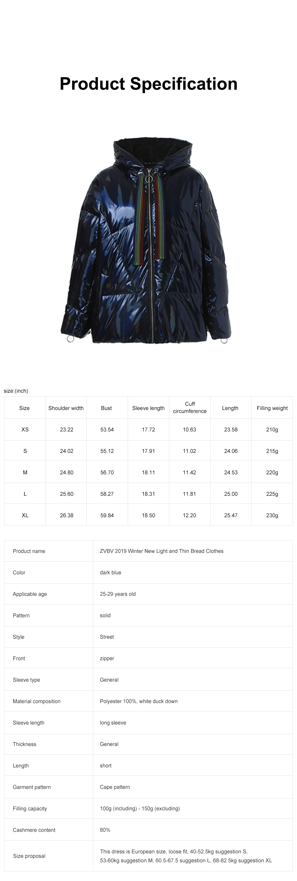 ZVBV 2019 Winter New Light Thin Bread Clothes Fashionable Short Parka Down Clothes Girl's Coat 6