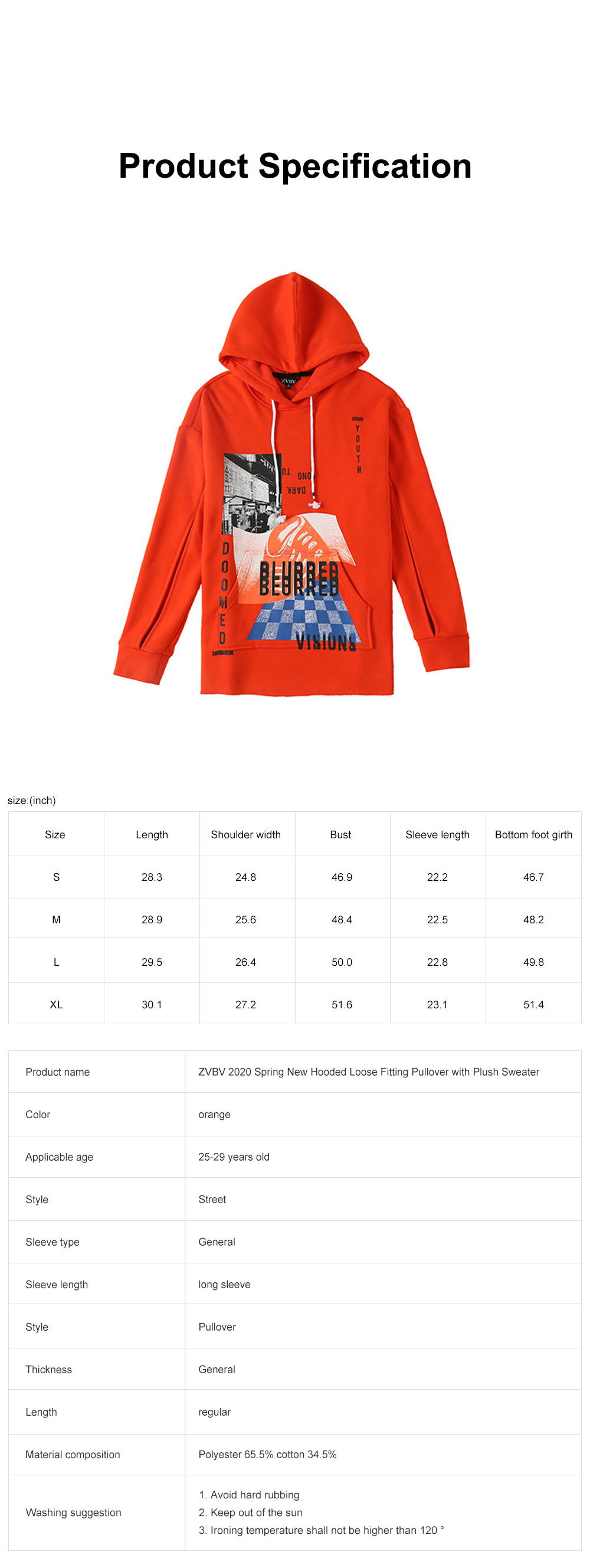ZVBV 2020 Spring New Hooded Loose Fitting Pullover with Plush Sweater Women's Orange Medium Long Slouchy Top 6