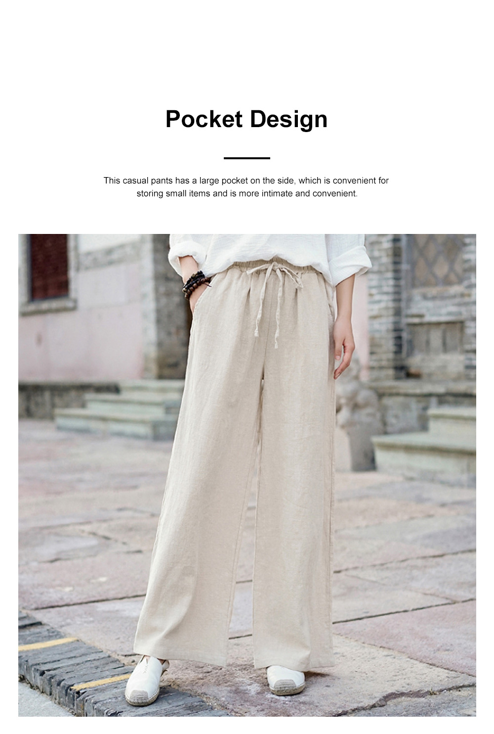 Literature Art Retro Chinese Style Cotton Hemp Leisure Pants Meditation Practice Pant Taiji Pants Linen Pants Women's Wide Leg Pants 3