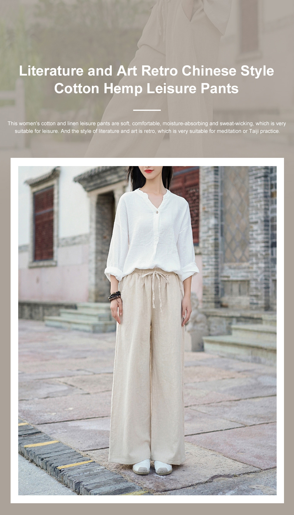 Literature Art Retro Chinese Style Cotton Hemp Leisure Pants Meditation Practice Pant Taiji Pants Linen Pants Women's Wide Leg Pants 0