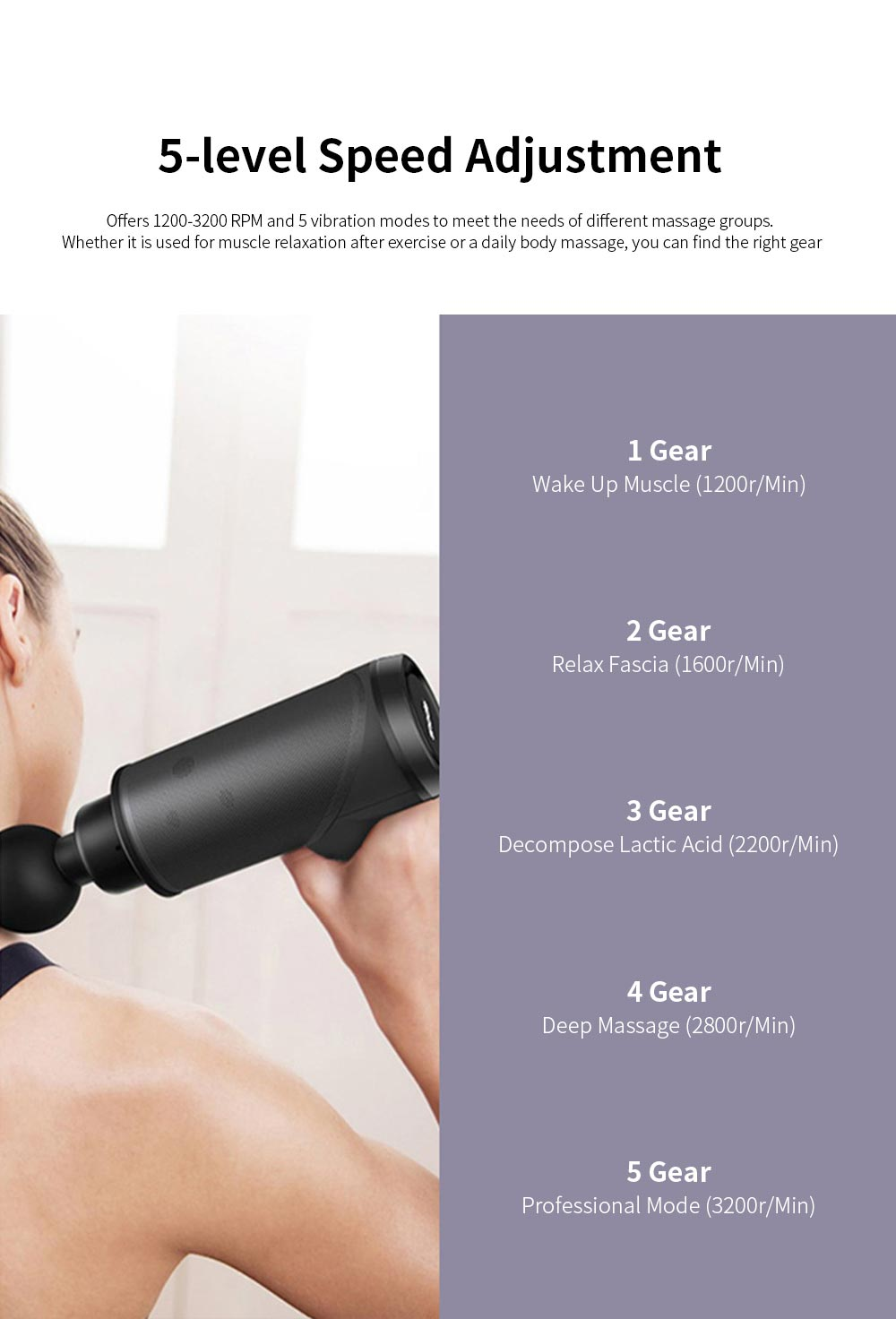 LEEFITNESS Mini Massage Gun with Low Noise Vibration Percussive Therapy Massager with 4 Massage Heads for Muscle Relax 2