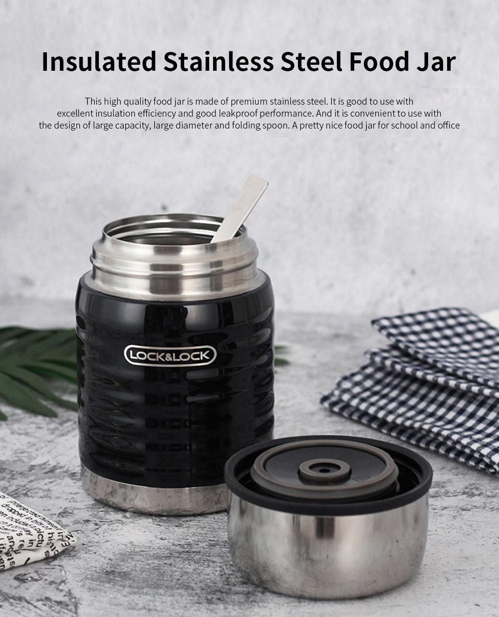 Lock& lock Stainless Steel Food Jar Insulated Leak proof Hot Food Container with Folding Spoon for School Office Picnic 0