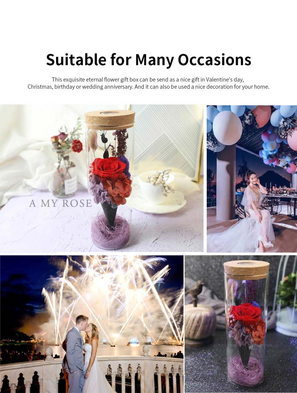 Glass Bottle Eternal Rose with LED Light Preserved Real Flower Romantic Gift for Lover Valentine's Day Wedding Anniversary 4
