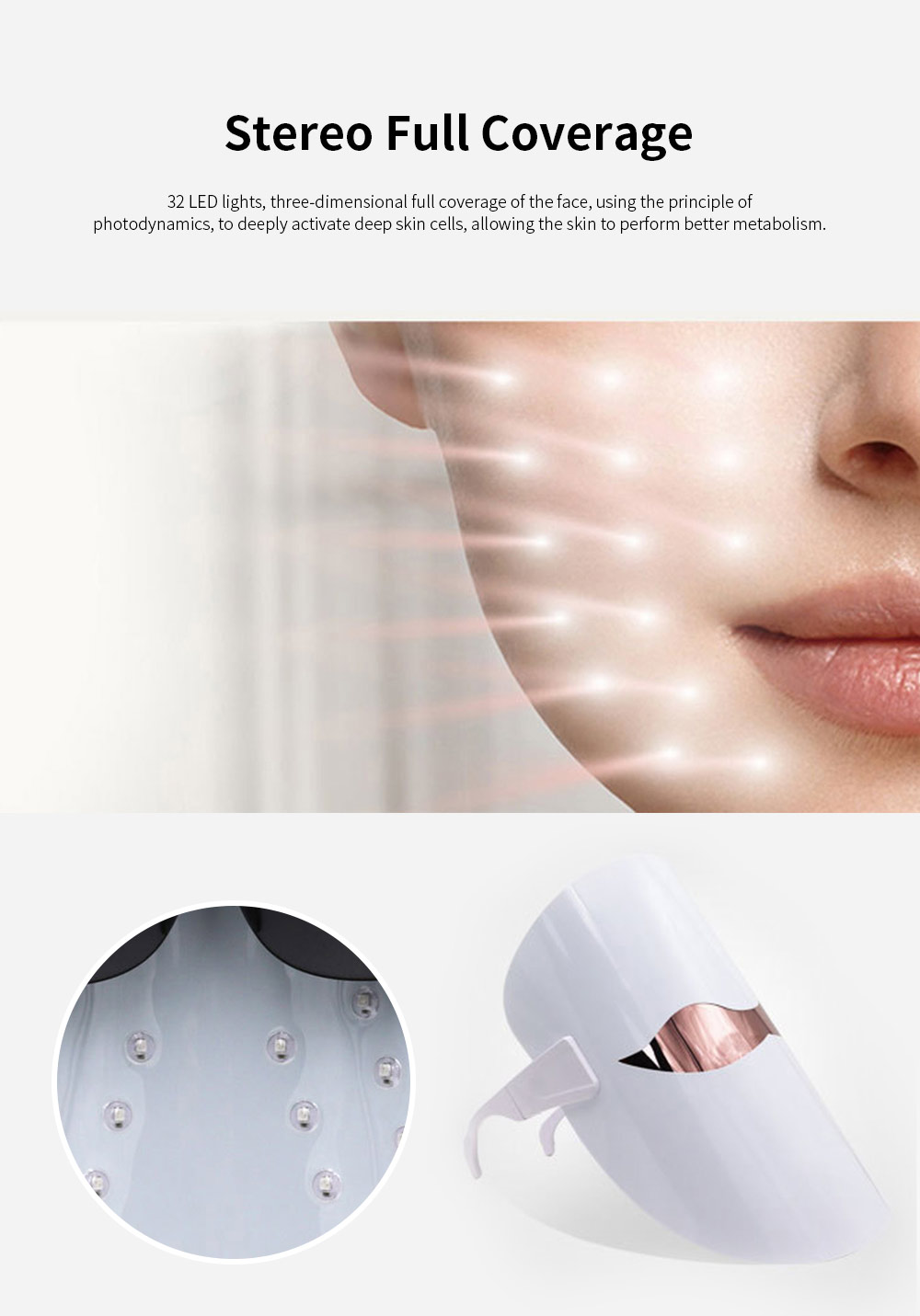 Spectrum Skin Care Mask 32 LED Face Mask with Triple Spectrum Technology for Skin Care Anti Aging Skin Tightening 3