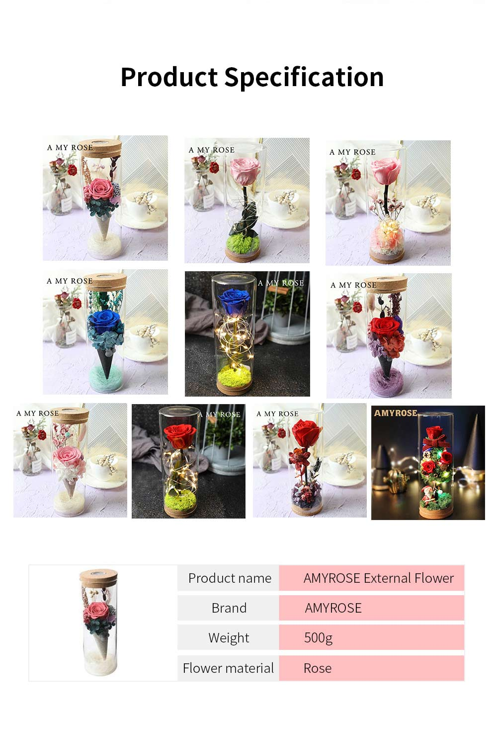 Glass Bottle Eternal Rose with LED Light Preserved Real Flower Romantic Gift for Lover Valentine's Day Wedding Anniversary 6