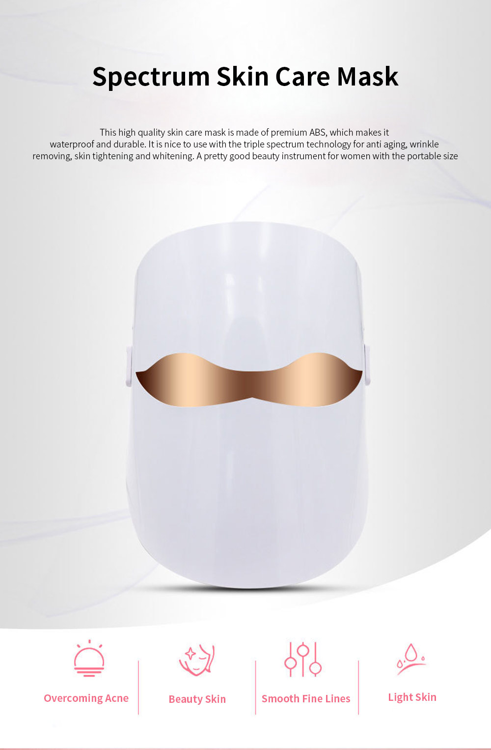 Spectrum Skin Care Mask 32 LED Face Mask with Triple Spectrum Technology for Skin Care Anti Aging Skin Tightening 0