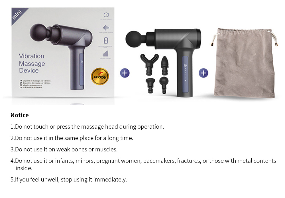 LEEFITNESS Mini Massage Gun with Low Noise Vibration Percussive Therapy Massager with 4 Massage Heads for Muscle Relax 12