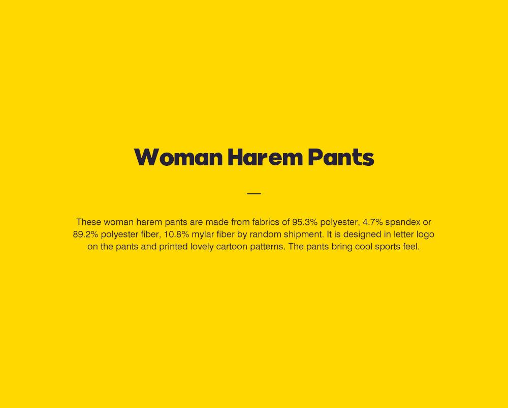 ZVBV 2020 New Style Harem Pants for Women Wear Black Loose Harem Trousers Printed Letter Pattern Sweatpants 0