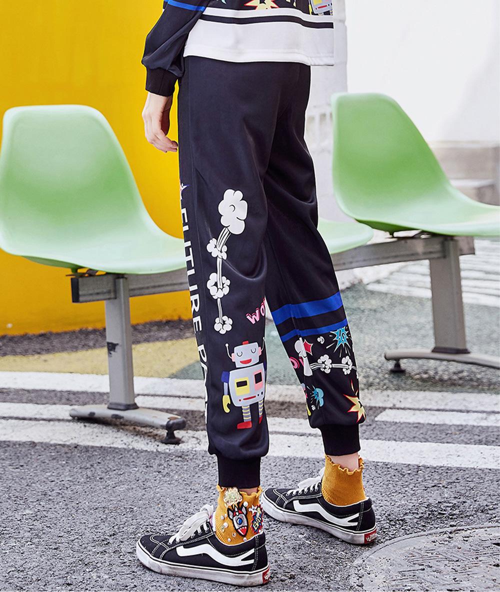 ZVBV 2020 New Style Harem Pants for Women Wear Black Loose Harem Trousers Printed Letter Pattern Sweatpants 1
