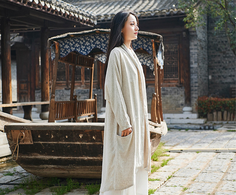 Retro Medium Long Overcoat for Women Chinese Style Cotton With Lien Dust Coat Loose Women King-size Coat 9