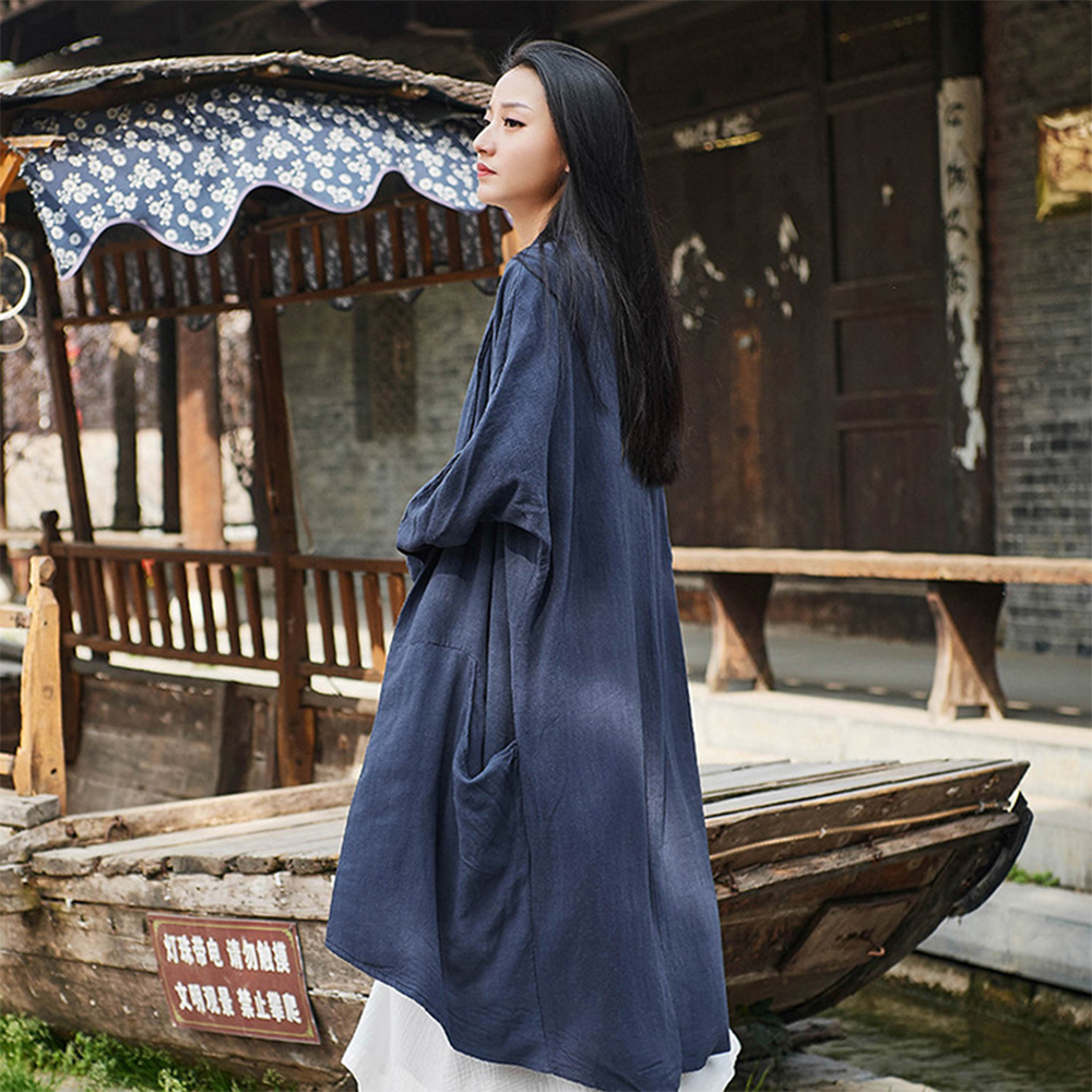 Retro Medium Long Overcoat for Women Chinese Style Cotton With Lien Dust Coat Loose Women King-size Coat 5