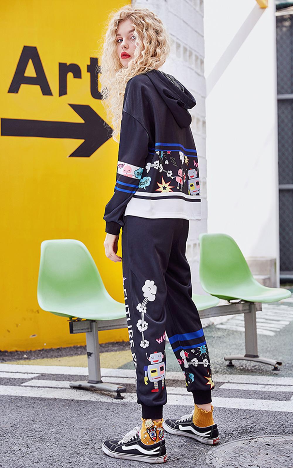 ZVBV European Style Spring Hoodie Fashionable Printing Hoodie Loose Top Coat Long Sleeve Contrast Cover Hoodie 5