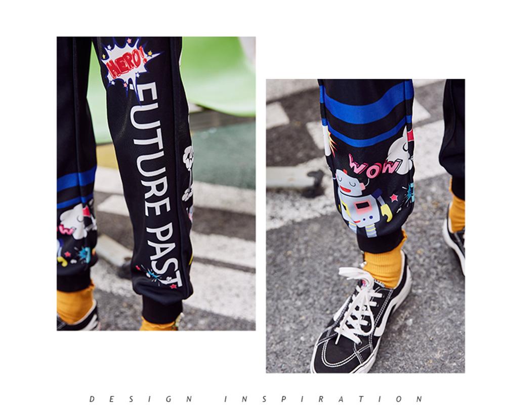 ZVBV 2020 New Style Harem Pants for Women Wear Black Loose Harem Trousers Printed Letter Pattern Sweatpants 5