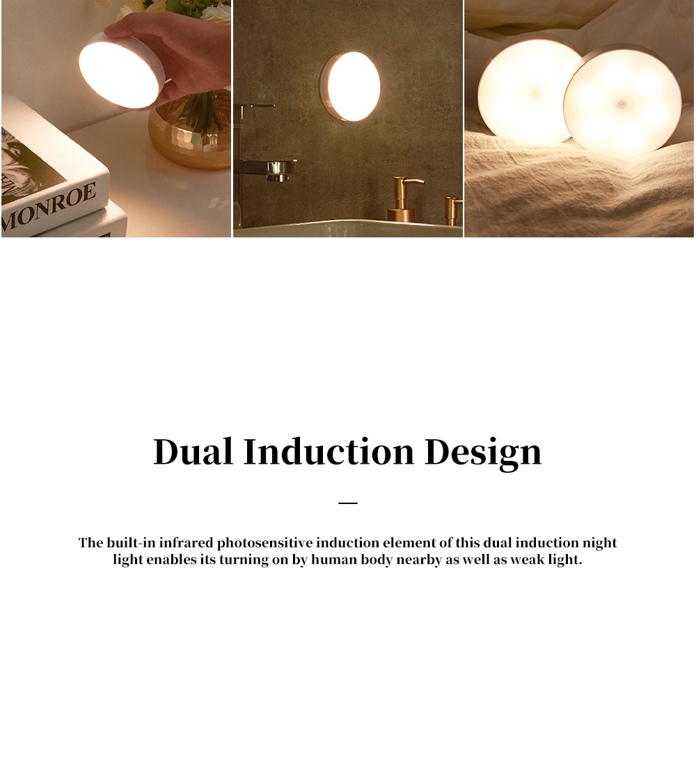 Dual Induction Night Light for Family Aisle Wardrobe Strong Magnetic Nail Free Night Lamp Body Induction Eye Protective Lamp 7