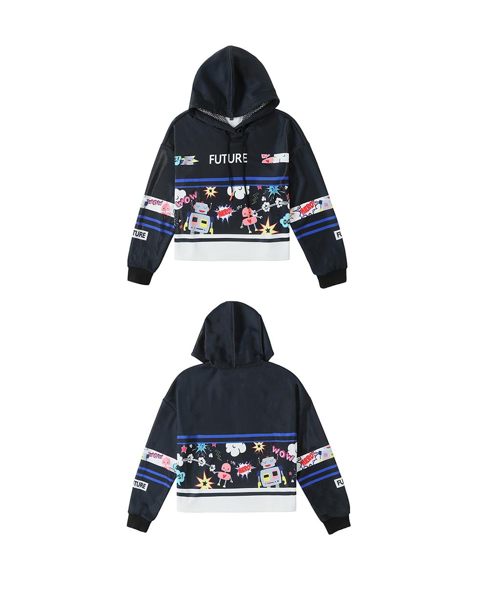 ZVBV European Style Spring Hoodie Fashionable Printing Hoodie Loose Top Coat Long Sleeve Contrast Cover Hoodie 15