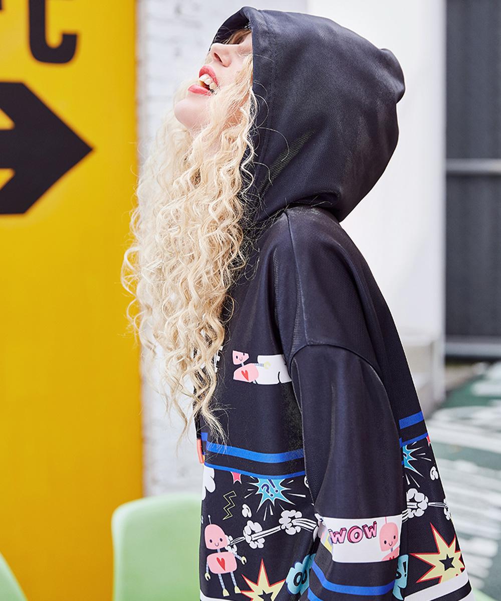 ZVBV European Style Spring Hoodie Fashionable Printing Hoodie Loose Top Coat Long Sleeve Contrast Cover Hoodie 9