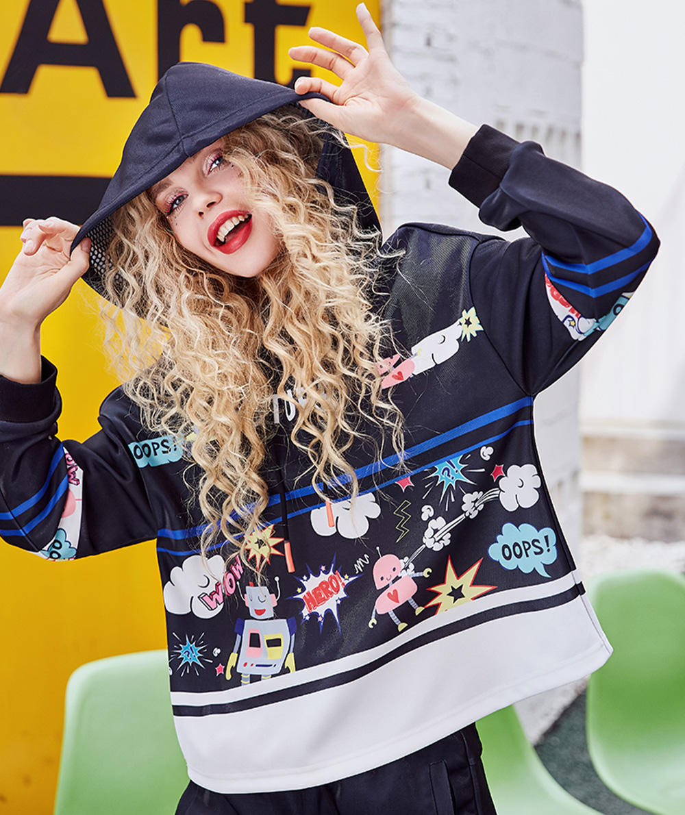 ZVBV European Style Spring Hoodie Fashionable Printing Hoodie Loose Top Coat Long Sleeve Contrast Cover Hoodie 3
